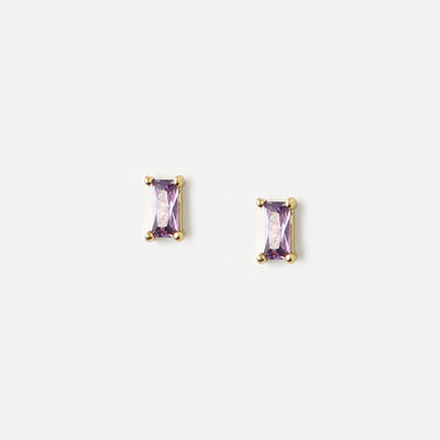 Mini Baguette Lilac Stud Earrings