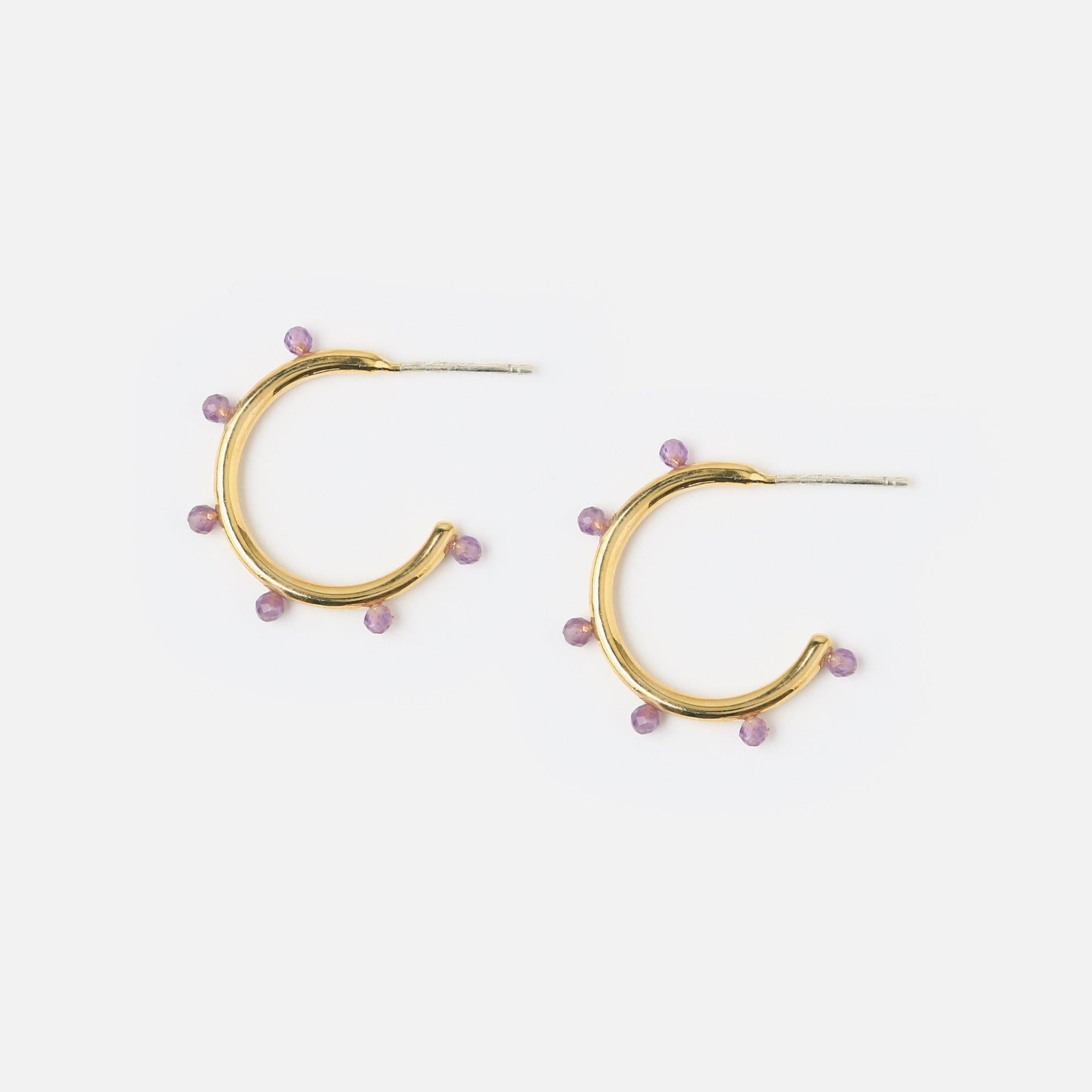 Amethyst Beaded Hoop Earrings