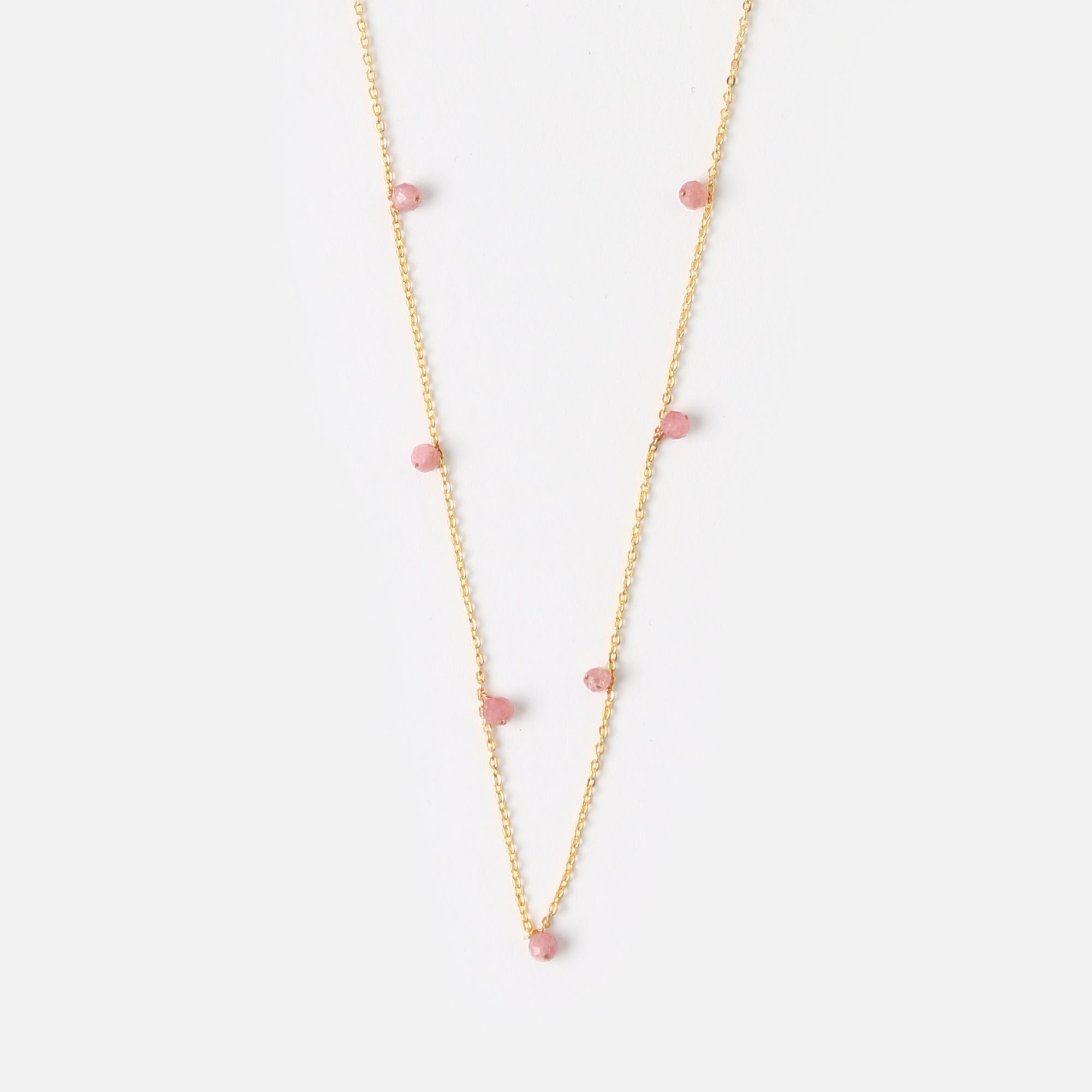 Semi Precious Fine Rose Quartz Drop Necklace