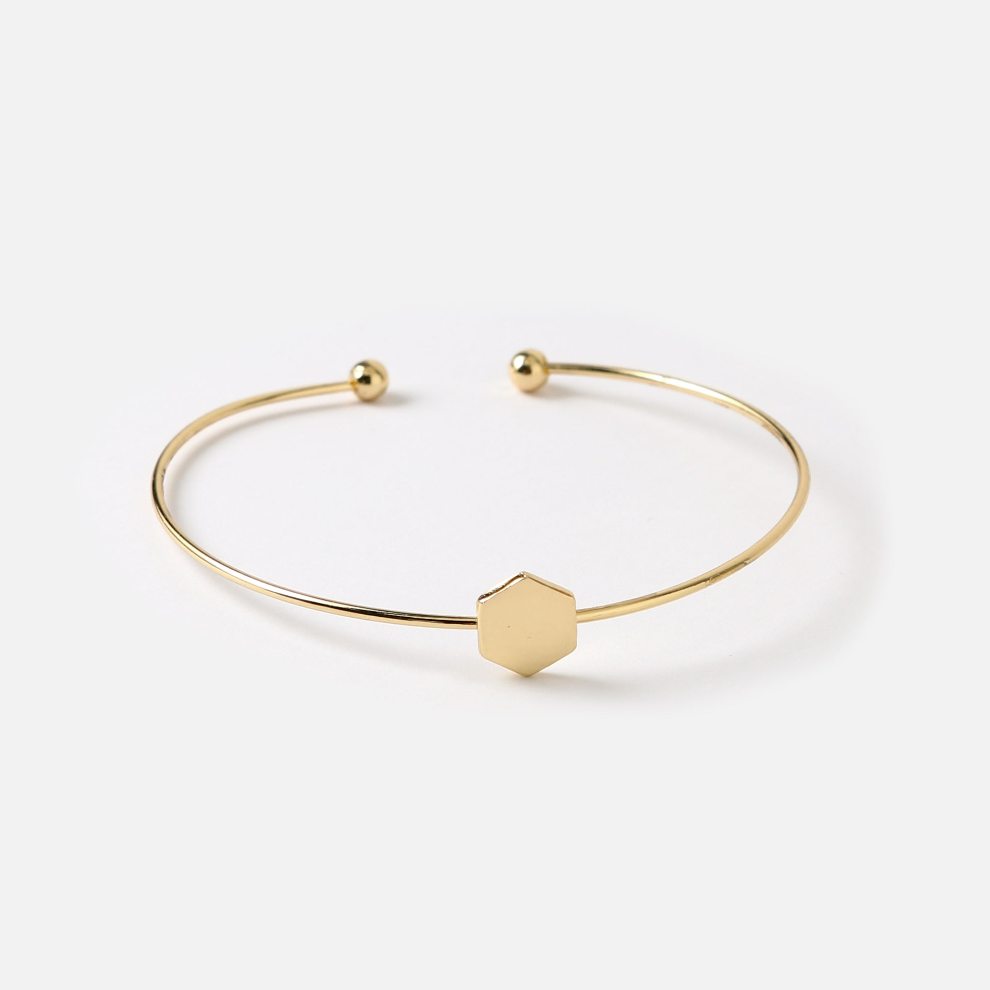 Hexagon Charm Bangle
