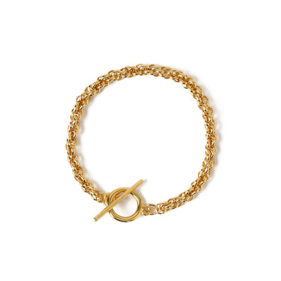 Chunky Rope T-Bar Bracelet - Gold