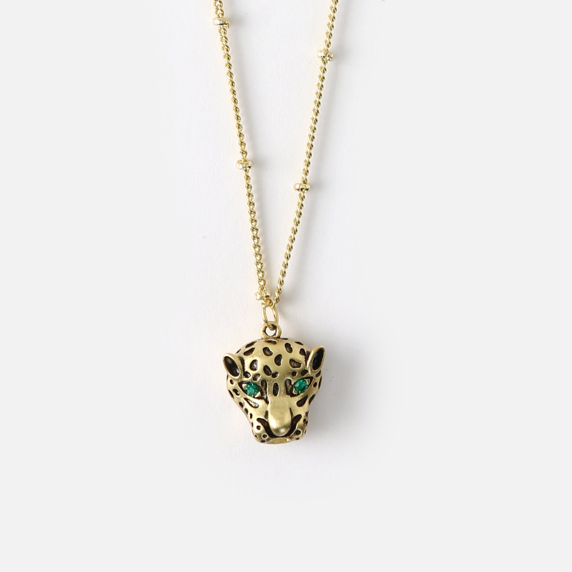 Emerald Panther Drop Necklace