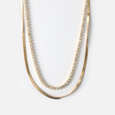 Crystal & Snake Chain Two Row Necklace