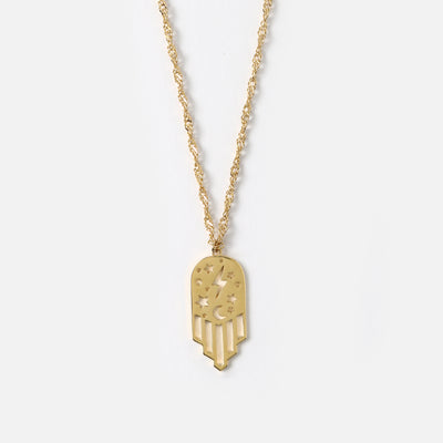 Mystic Hamsa Cut Out Mid Length Necklace