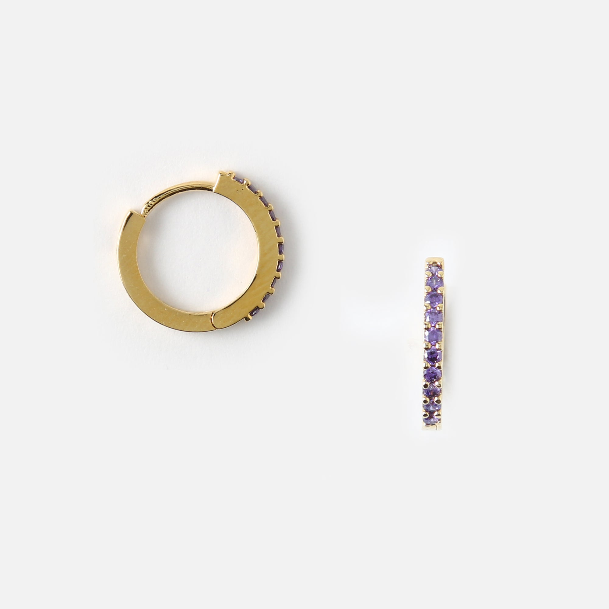 Mini Pave Huggie Hoop Earrings - Lilac