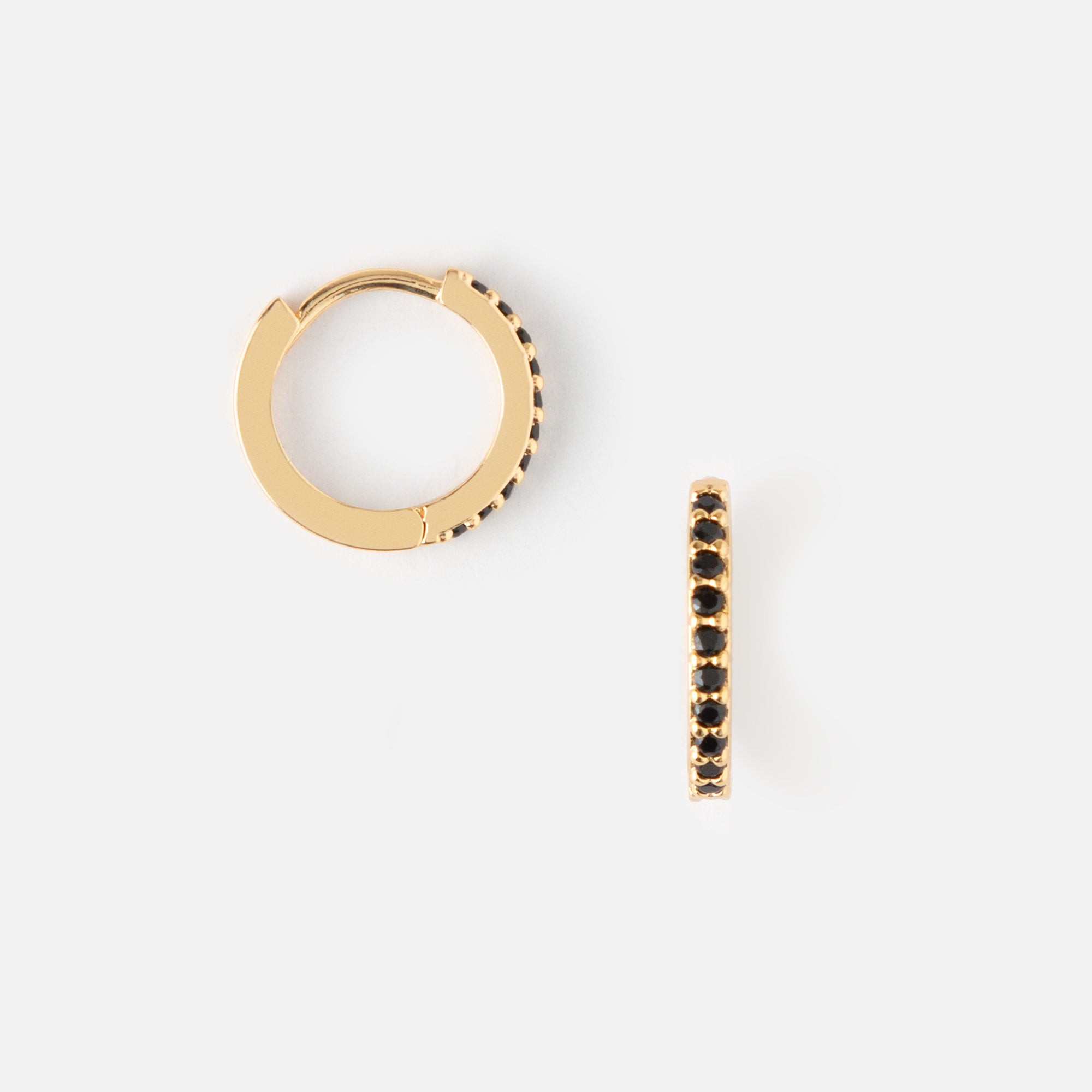 Mini Pave Huggie Hoop Earrings - Jet