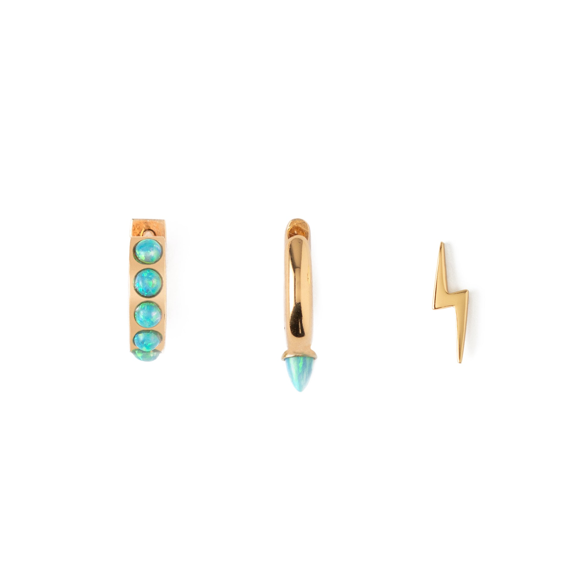 LUXE Blue Opal Spike & Lightning Ear Party