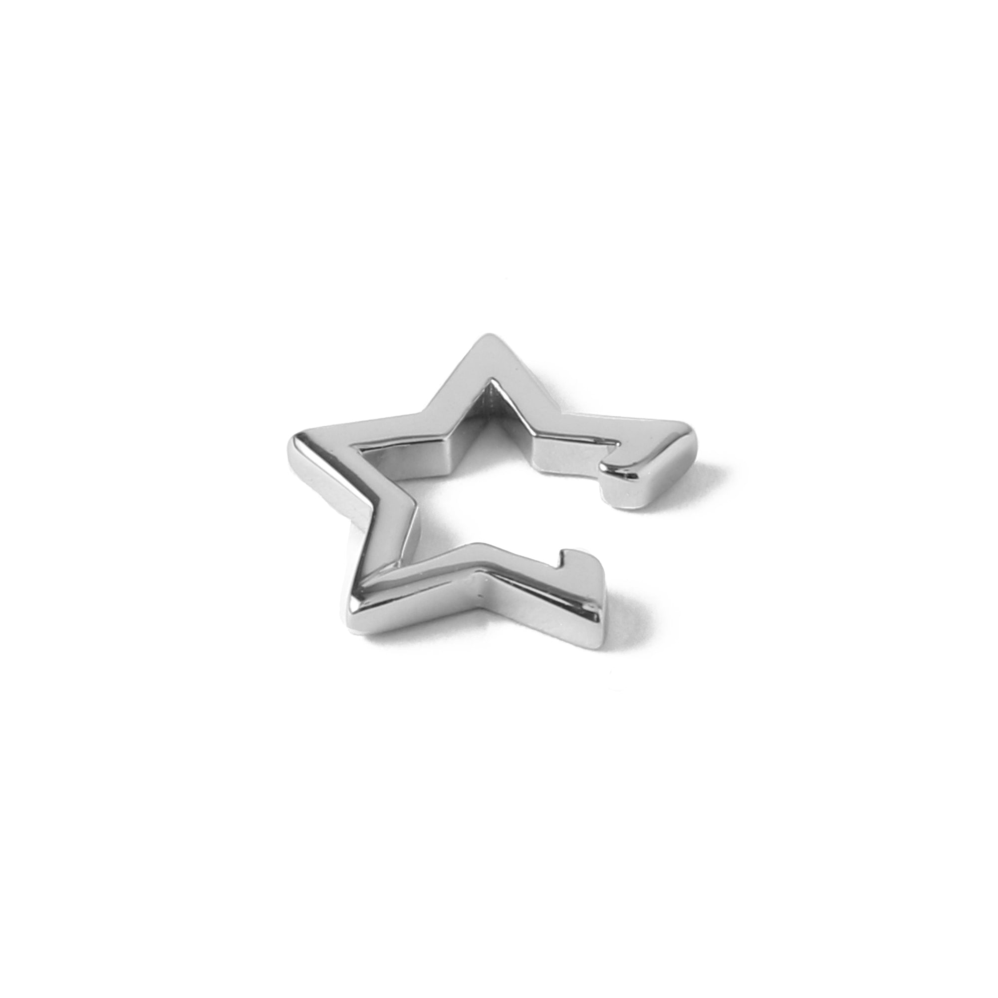 Cutout Star Ear Cuff - Silver
