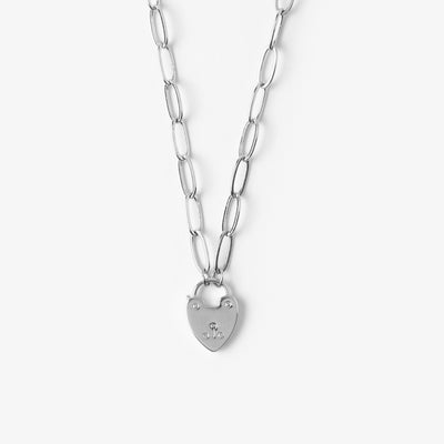 Heart Padlock Necklace - Silver