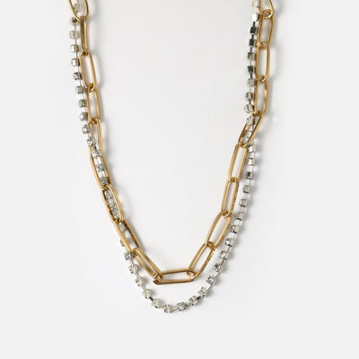Chunky Crystal Two Row Chain