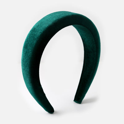 Velvet Domed Headband - Emerald