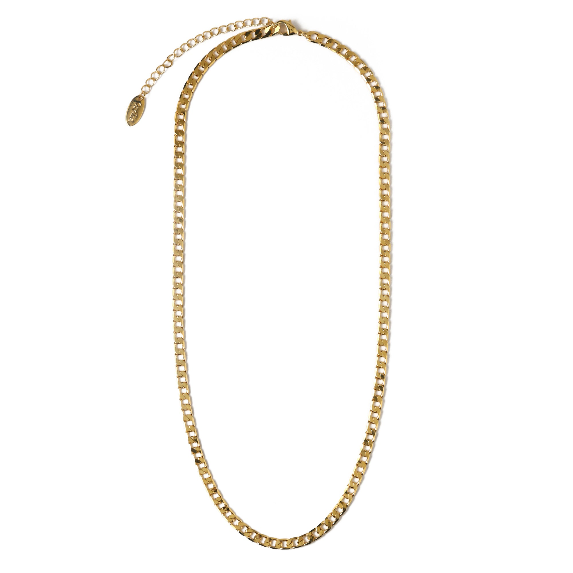 Flat Link Curb Chain Necklace - Gold