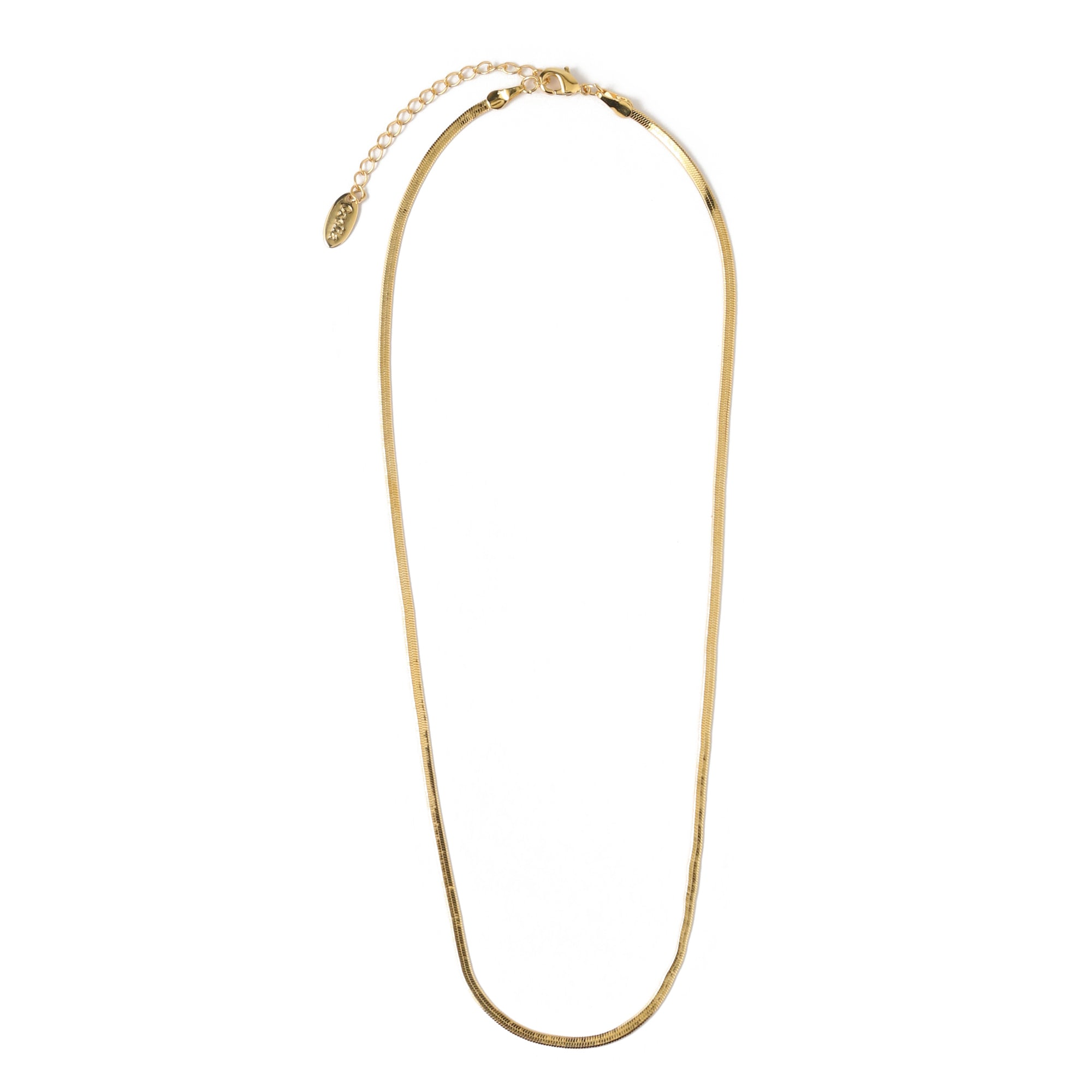 Flat Snake Chain Necklace - Gold