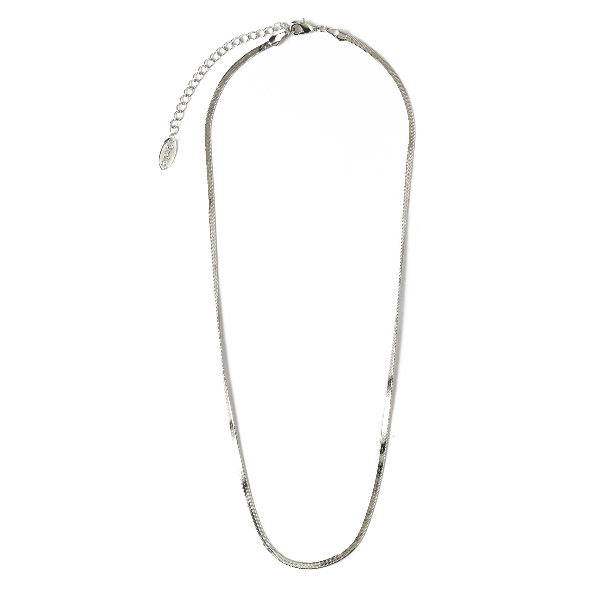 Flat Snake Chain Necklace - Silver