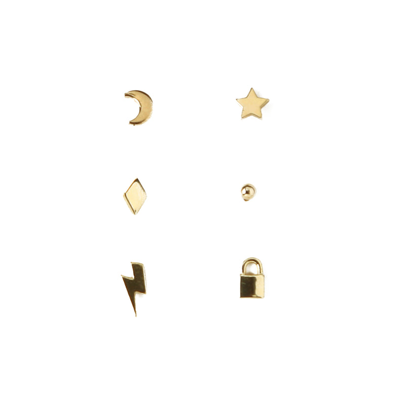 Mixed Charm Stud Ear Party 3 Pack
