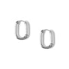 Chunky Oval Hoop Earrings - Silver