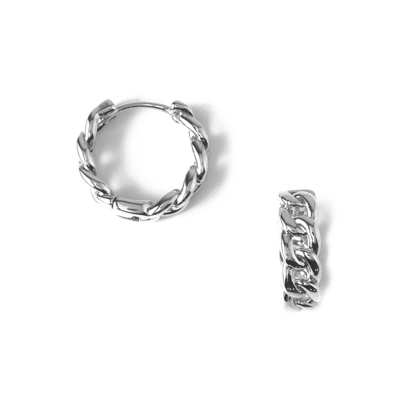 Chain Huggie Hoop Earrings - Silver