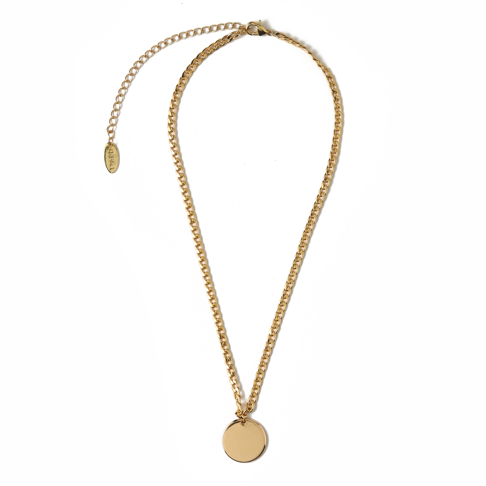 Clean Disc Flat Curb Necklace