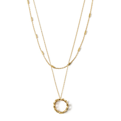 Chain Link Open Circle Two Row Necklace