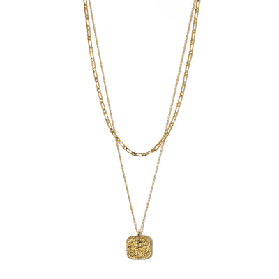 Square Coin Two Row Necklace - Gold