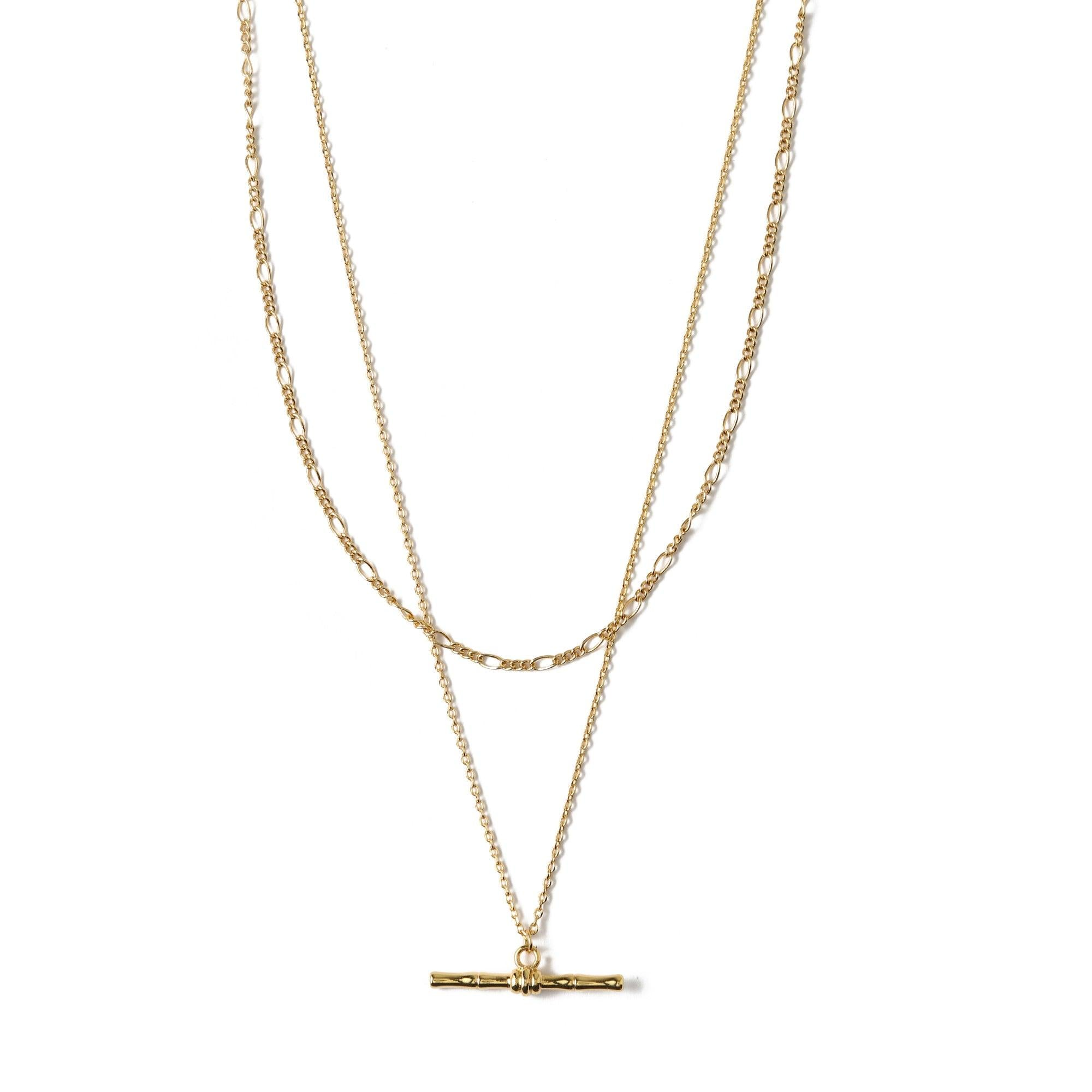 Bamboo T-Bar 2 Row Necklace