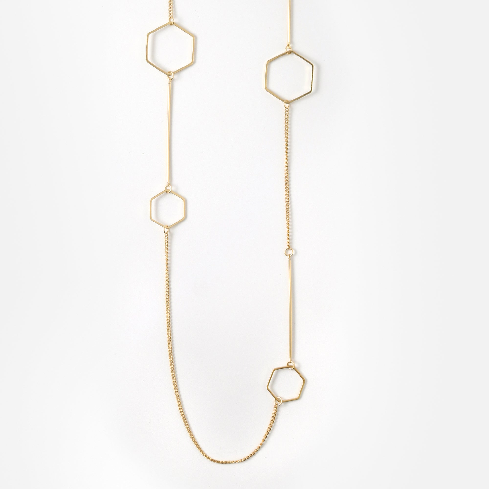 Open Hexagon Long Necklace