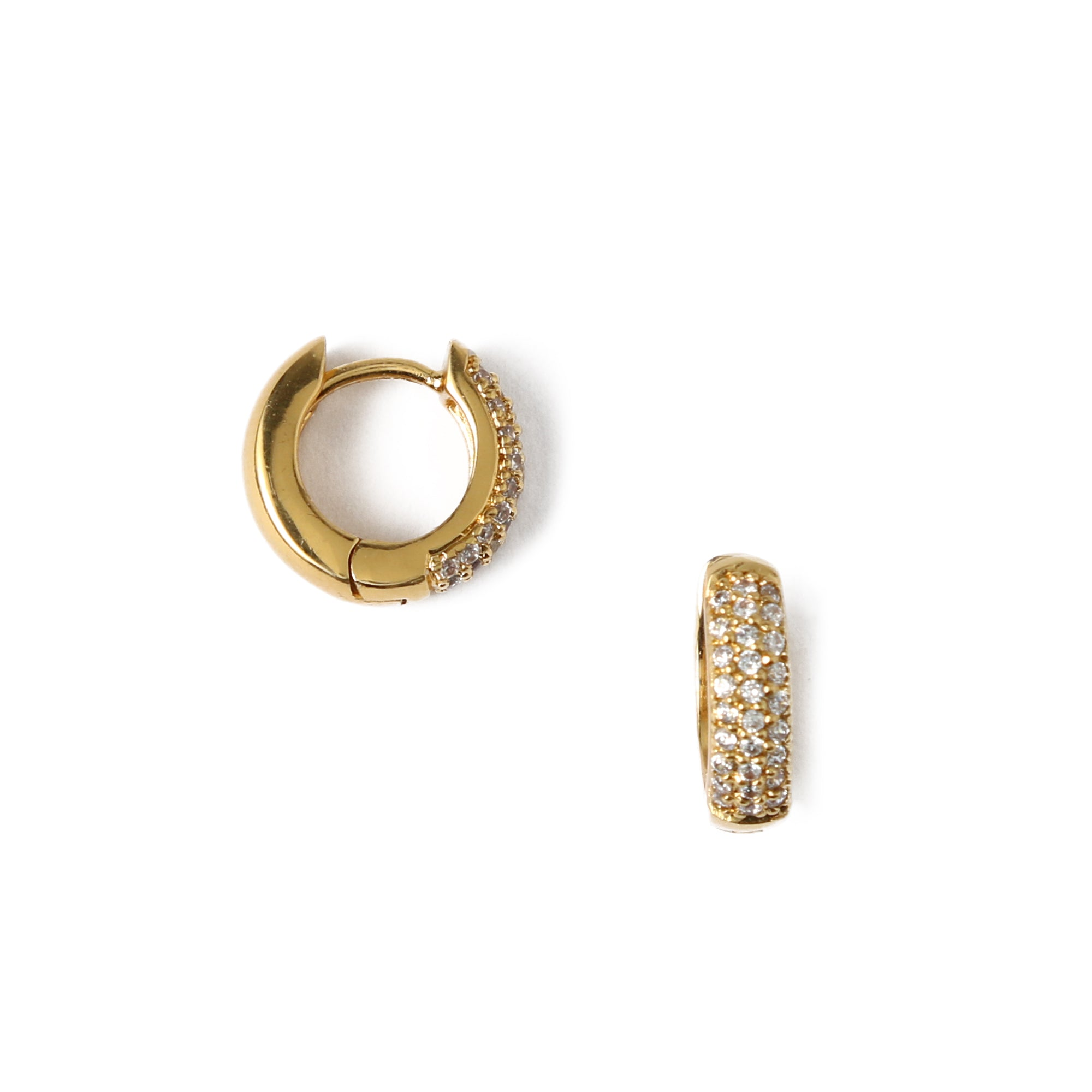 Mini Domed Pave Huggie Hoops