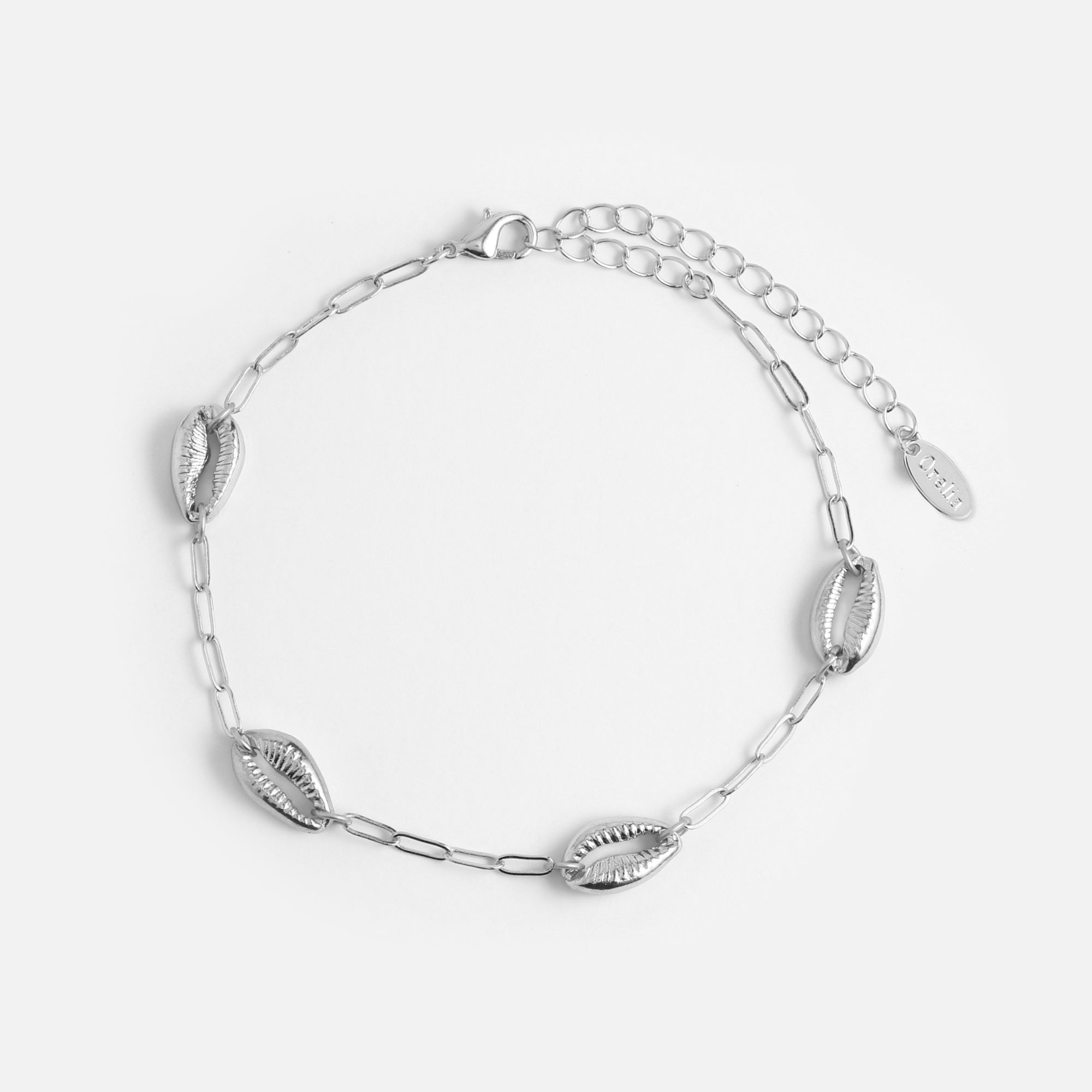 Cowrie Shell & Chain Anklet - Silver