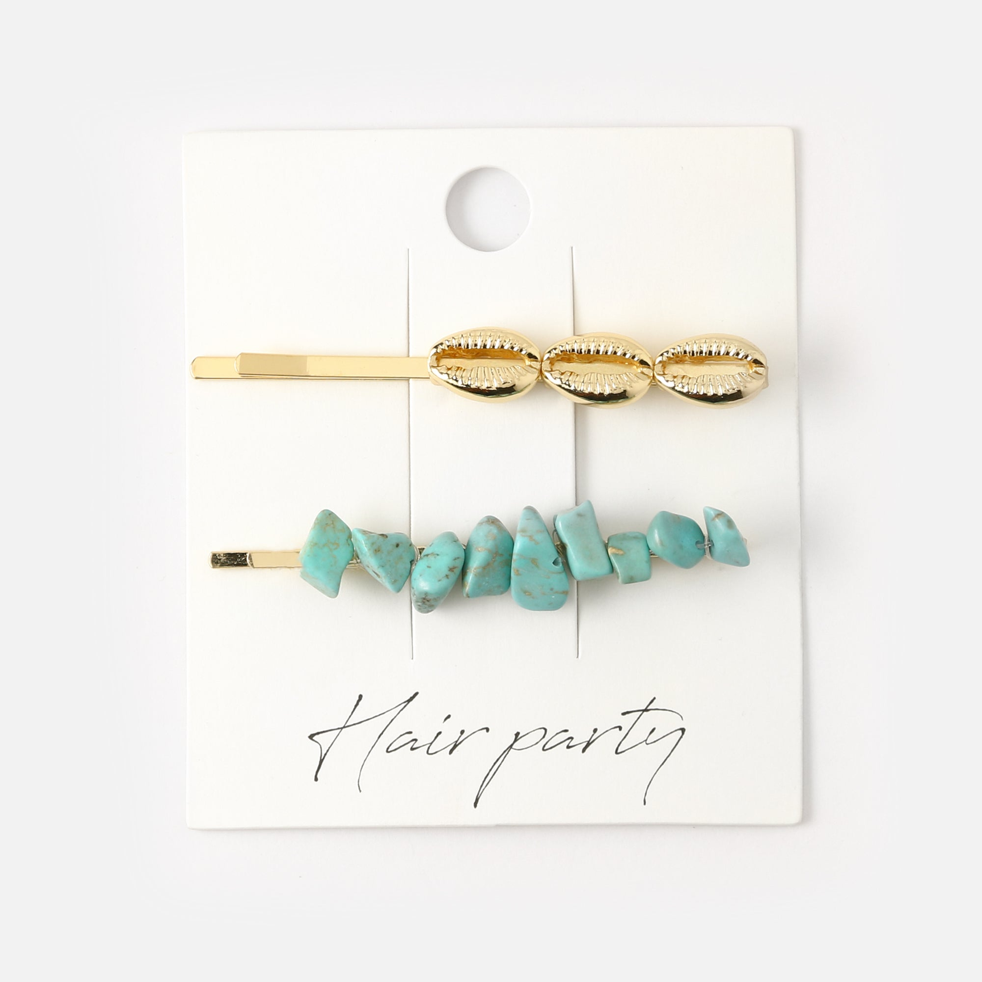 Semi Precious Chip & Shell Hair Slide Set - Turquoise