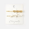 Semi Precious Chip & Shell Hair Slide Set - White