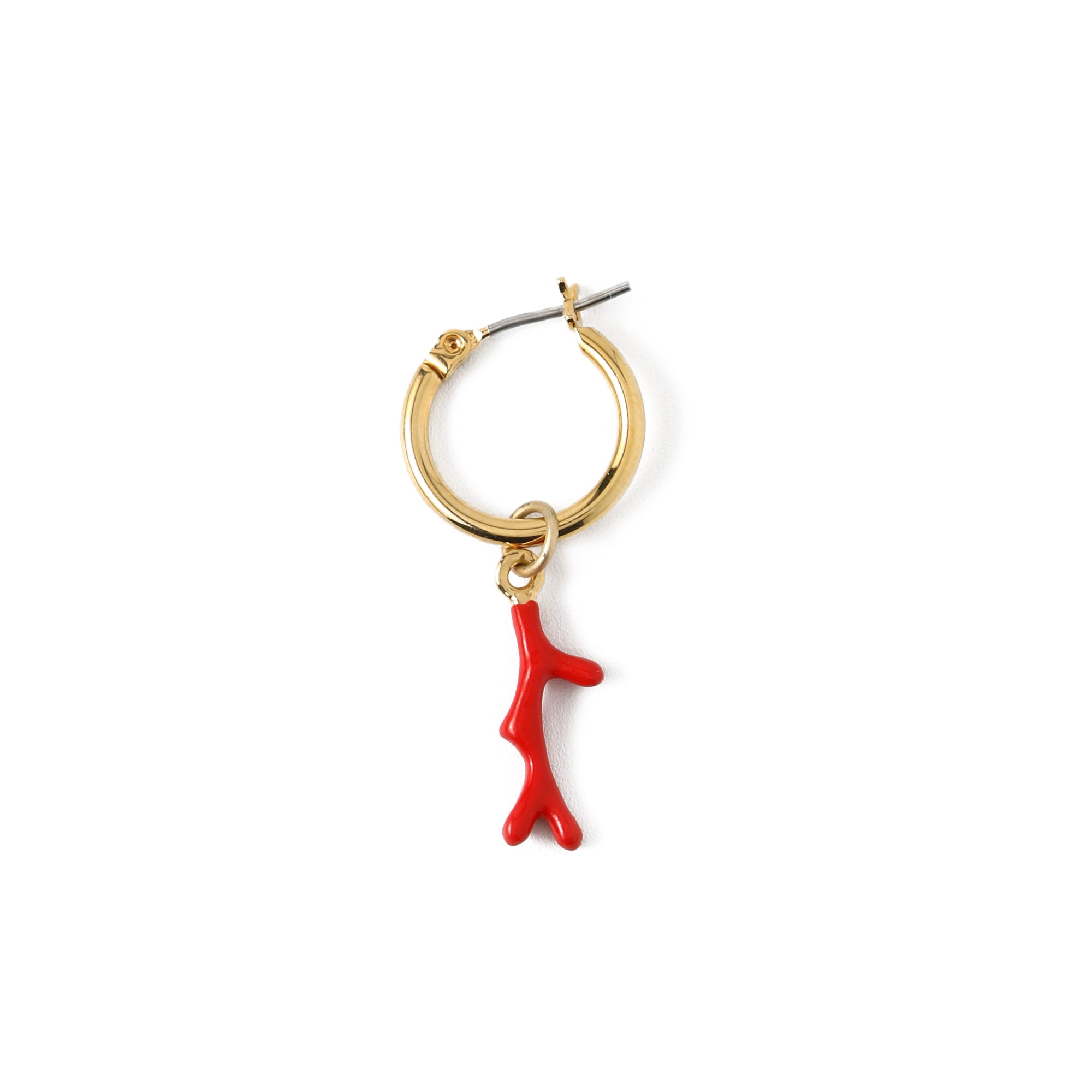 Red Coral Single Hoop