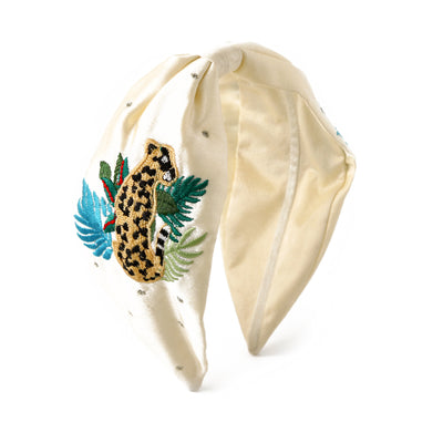 Leopard Embroidered Turban Headband - Cream