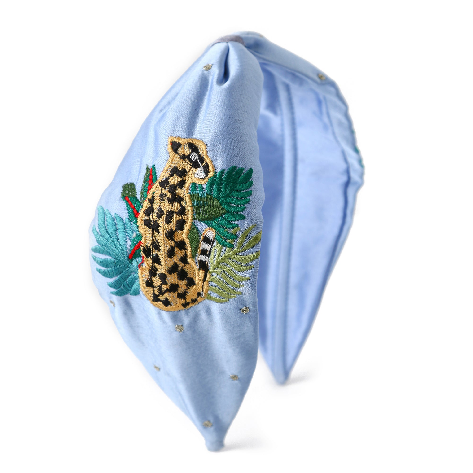 Leopard Embroidered Turban Headband - Blue