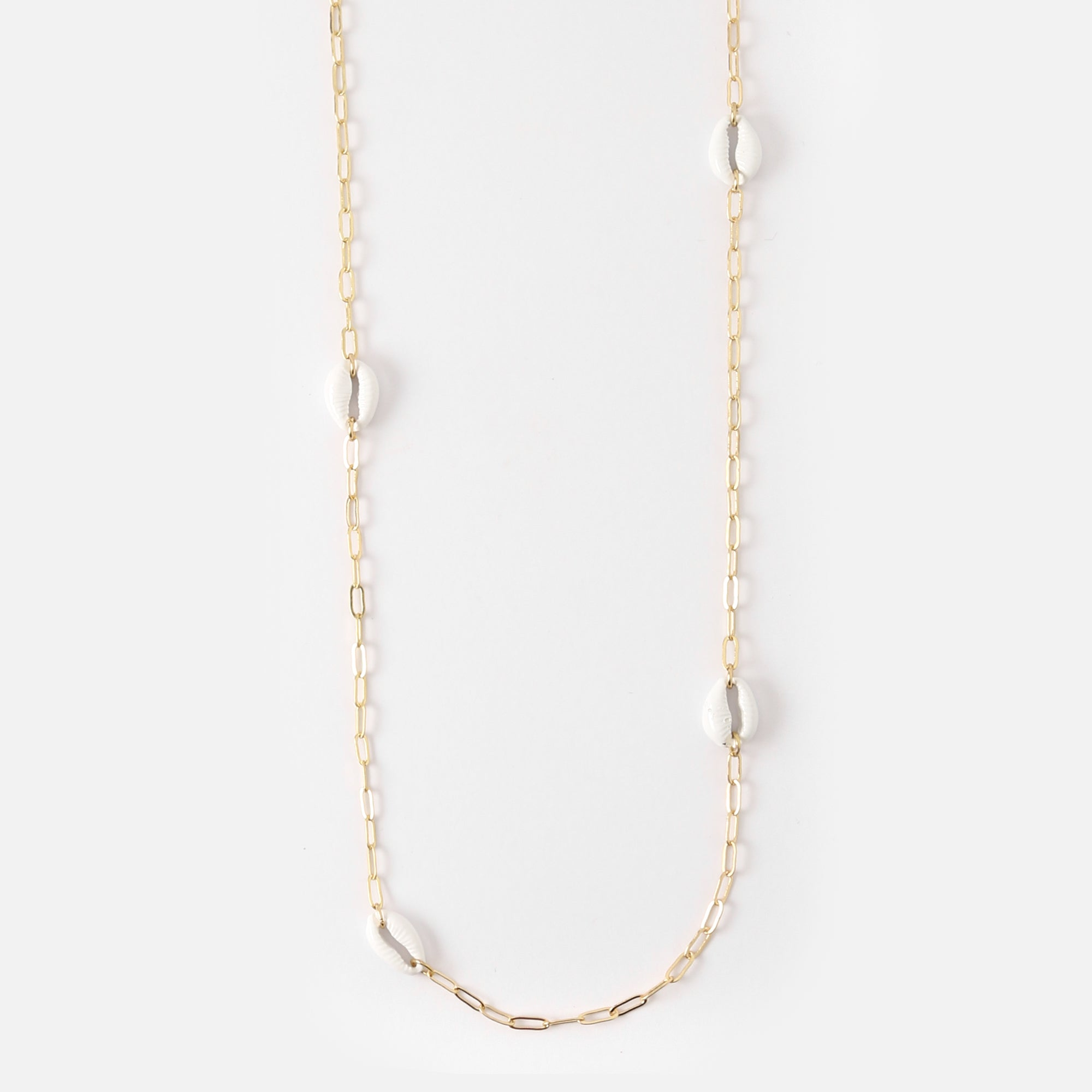 Cowrie Station Long Necklace