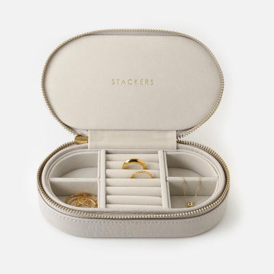 Stackers Oval Travel Jewellery Case-Taupe