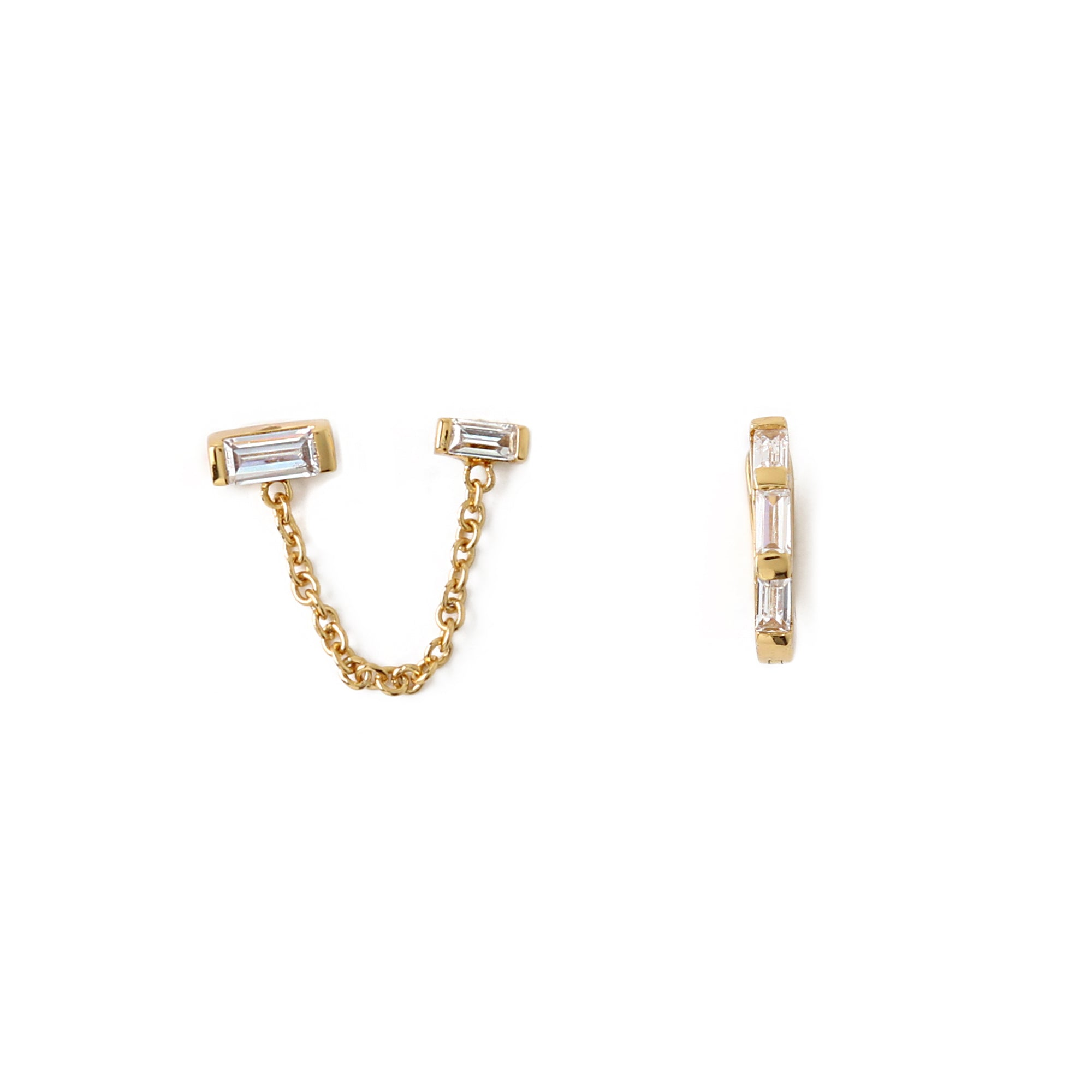 LUXE Double Baguette Stud And Hoop Ear Party