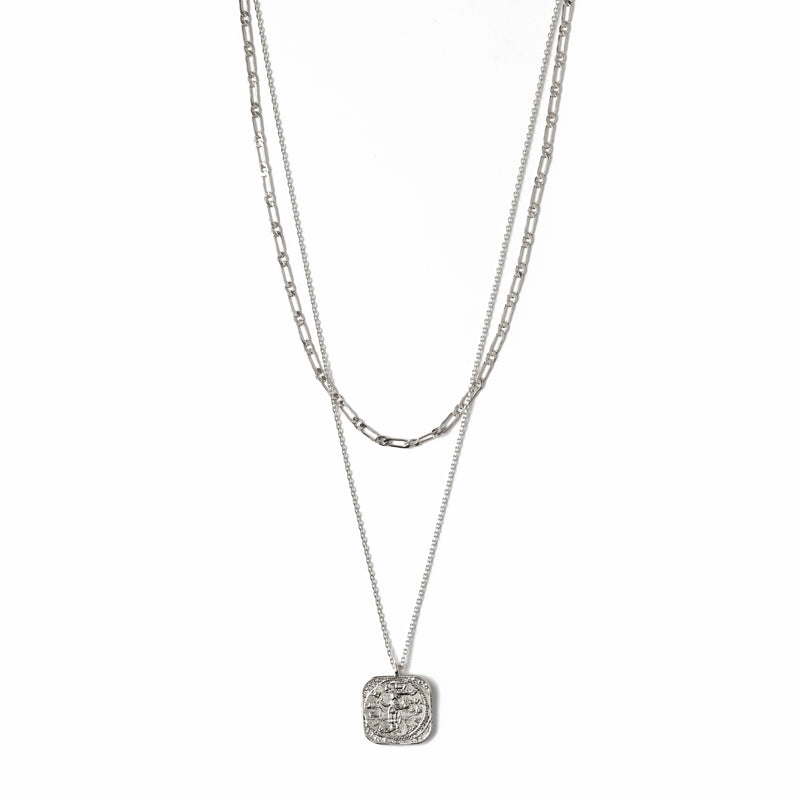 Square Coin Two Row Necklace - Silver