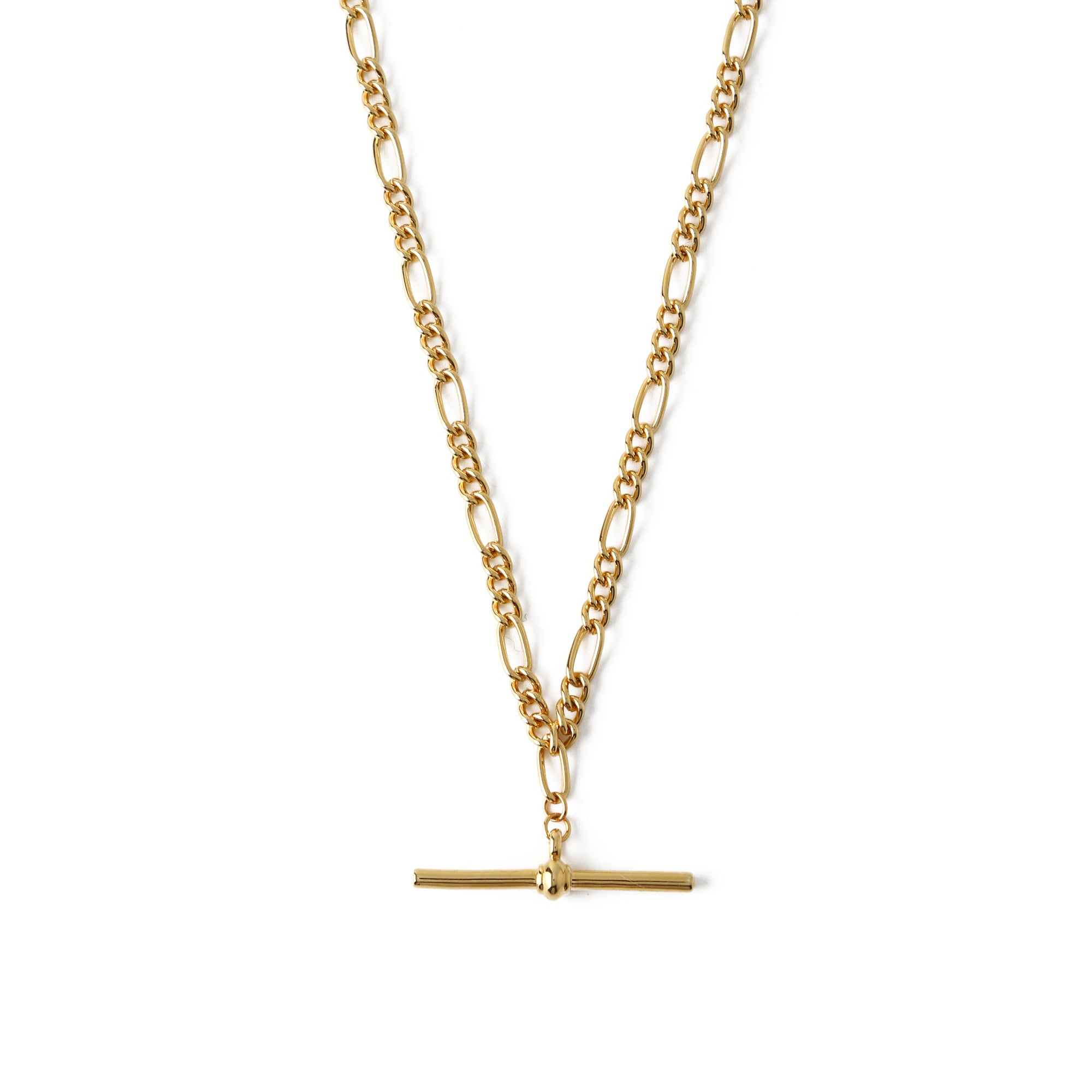 Chunky T-Bar Figaro Chain Necklace