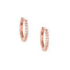 Mini Pave Huggie Hoop Earrings - Rose Gold