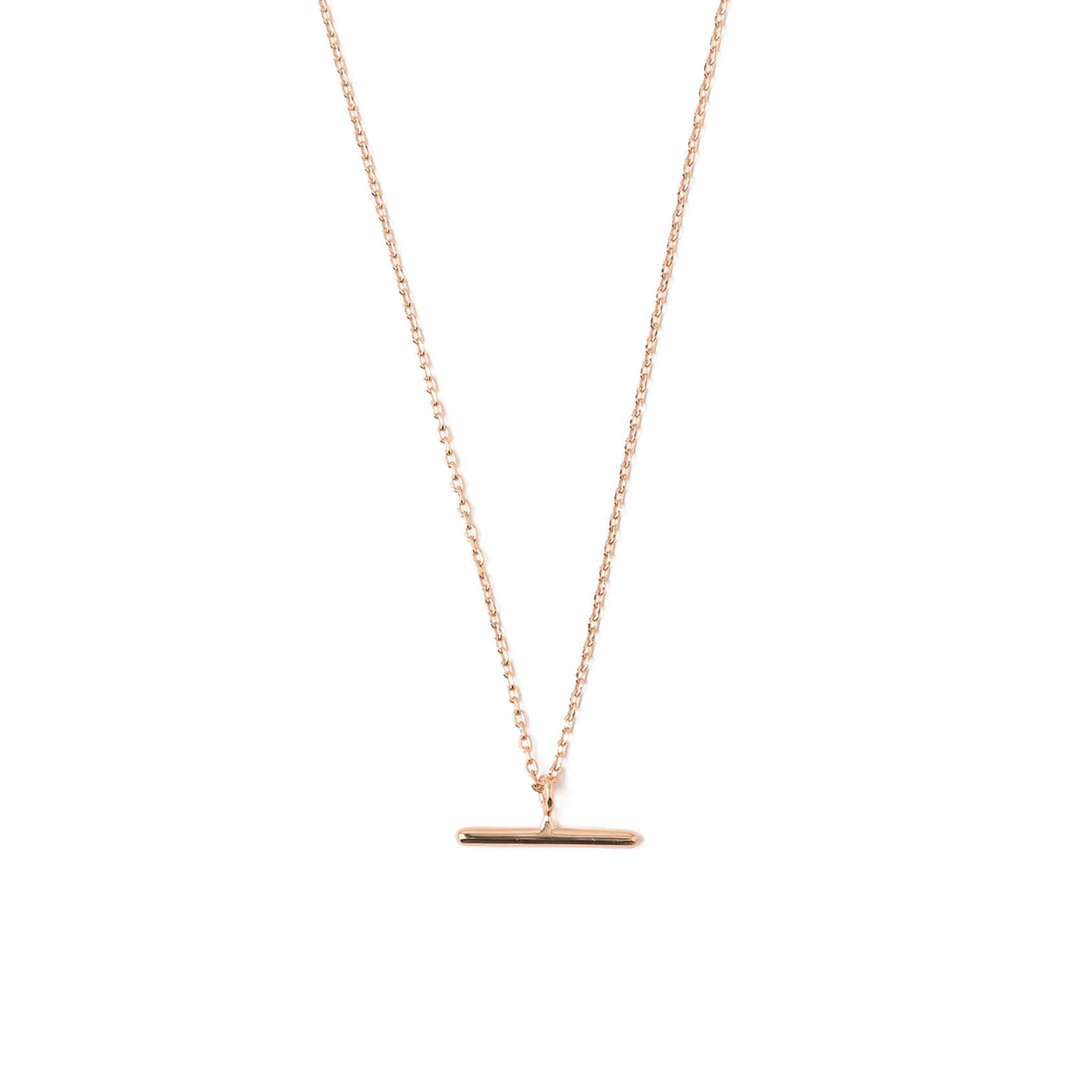 T-Bar Ditsy Charm Necklace - Rose Gold