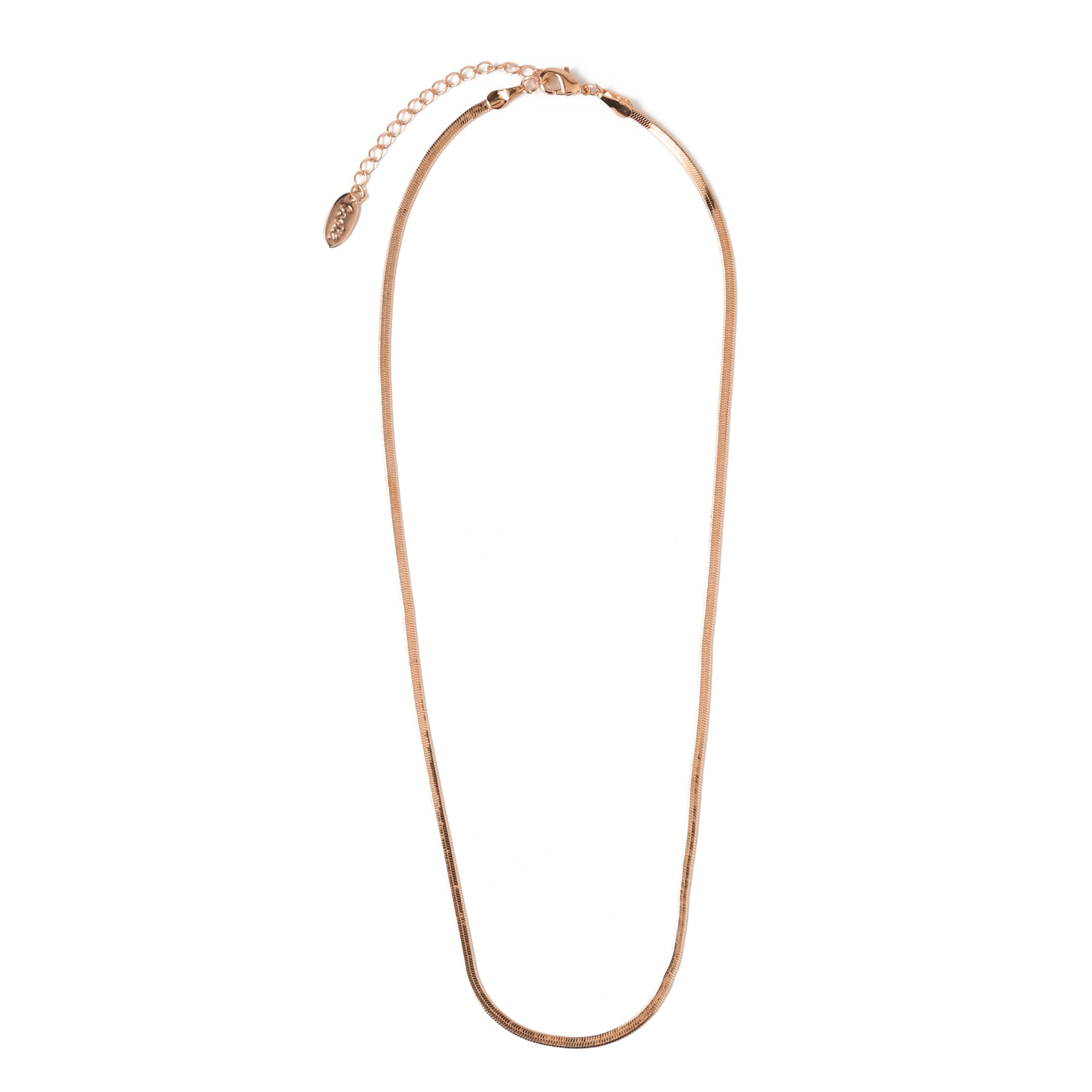 Flat Snake Chain Necklace - Rose Gold