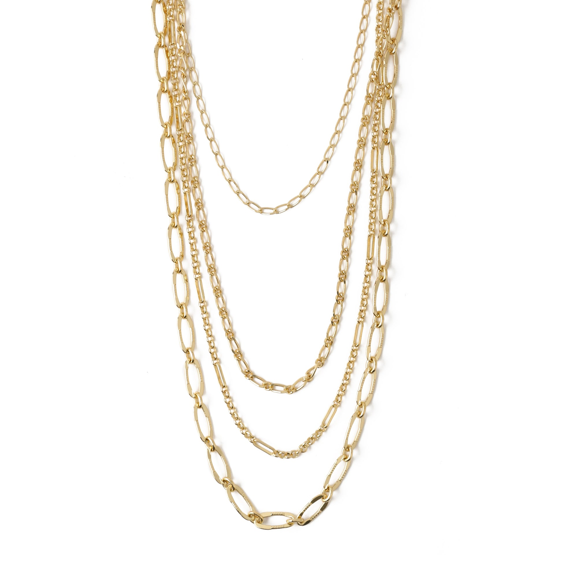 Mixed Chunky Chain 4 Row Necklace