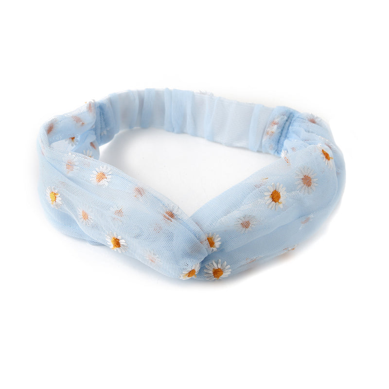 Daisy Embroidered Turban Headband - Blue