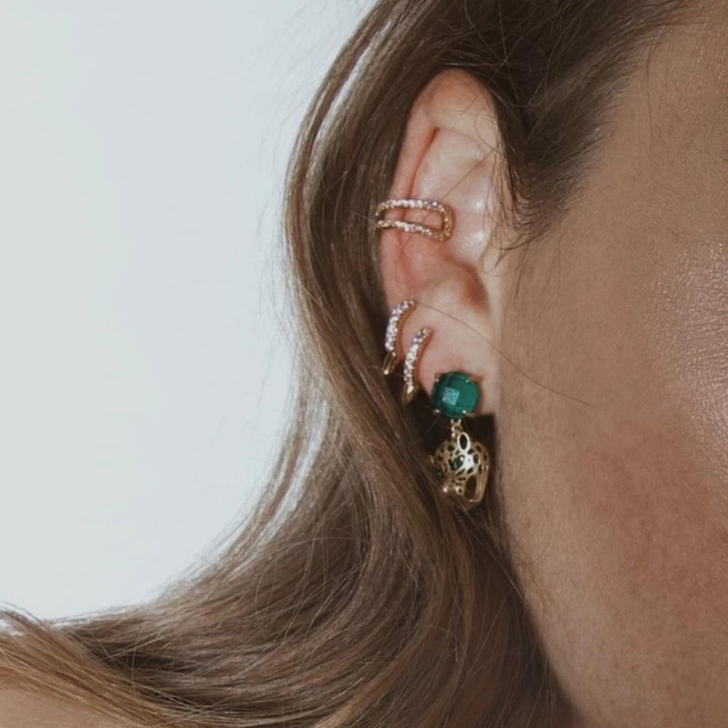 Emerald Panther Drop Earrings