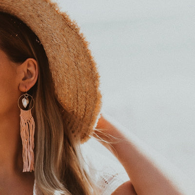 Coral Shell Fringed Hoops