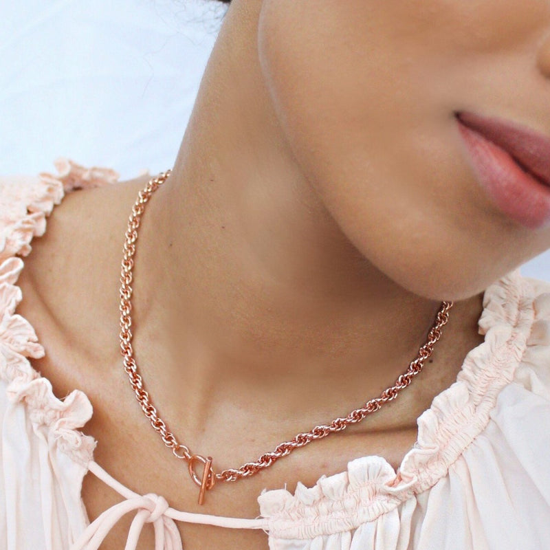 Chunky Rope Chain T-Bar Necklace - Rose Gold