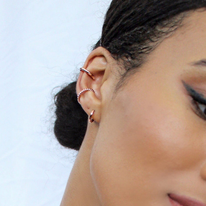 Rope Twist Ear Cuff - Rose Gold