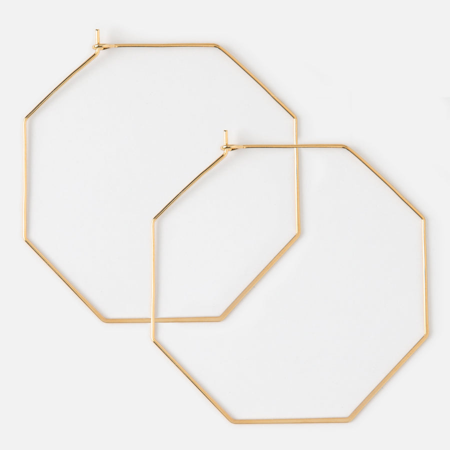 Gold Plated Octagon Hoop Earrings
