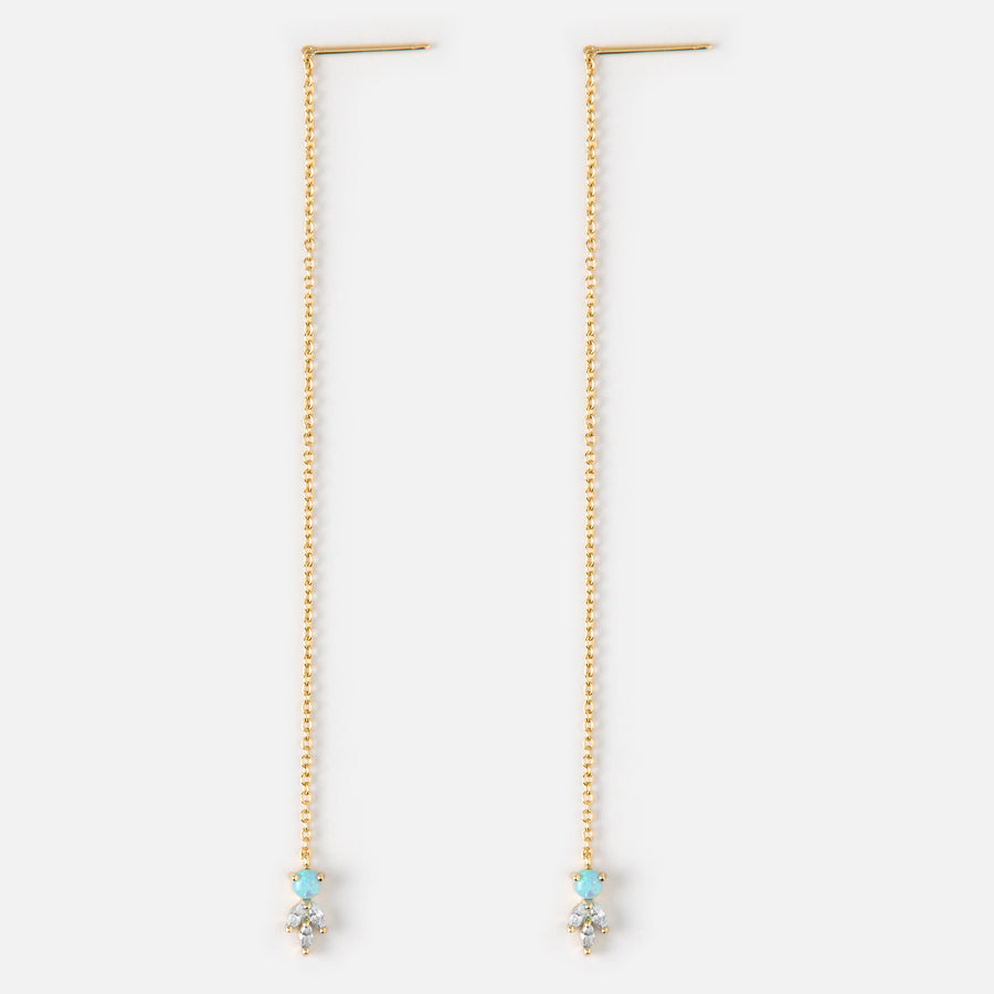 Opal & Crystal Thread Through Earrings