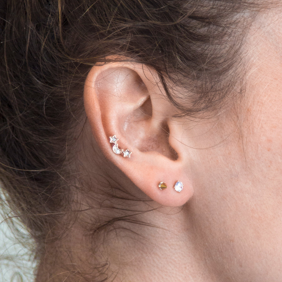 Simple Crystal Piercing Stud - Rose Gold